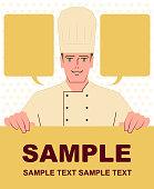 Unique Characters Vector art illustration. Smiling handsome caucasian ethnicity chef holding blank sign.