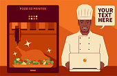 Handsome Characters with Food Vector Art Illustration. Smiling handsome chef using a computer (laptop) to run a food 3d printer making a traditional Thanksgiving turkey dinner (Roast chicken or duck). 3D printed food is a meal prepared through an automated additive process.