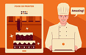 Handsome Characters with Food Vector Art Illustration. Smiling handsome chef using a computer (laptop, downloading the recipes) to run a food 3d printer making a cake. 3D printed food is a meal prepared through an automated additive process.