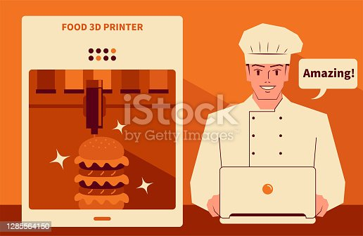 istock Smiling handsome chef using a computer (laptop, downloading the recipes) to run a food 3d printer making a veggie burger or beef burger 1285564150