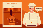 Handsome Characters with Food Vector Art Illustration. Smiling handsome chef using a computer (laptop, downloading the recipes) to run a food 3d printer making a veggie burger or beef burger. 3D printed food is a meal prepared through an automated additive process.