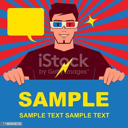 Unique Characters Full Length Vector art illustration. Smiling handsome designer (computer programmer, illustrator, fashion stylist) wearing 3d glasses and holding blank sign.