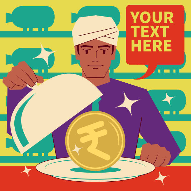 Smiling handsome Indian Ethnicity businessman wearing turban taking the lid off a domed tray that has a Rupee sign Indian currency inside. Piggy Bank Background vector art illustration