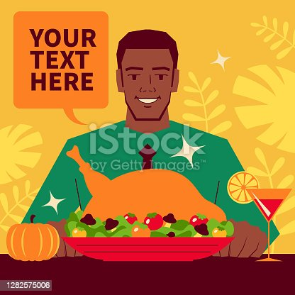 Unique Characters Vector Art Illustration. Smiling handsome man enjoys dining alone this Thanksgiving; Table with traditional Thanksgiving turkey dinner.
