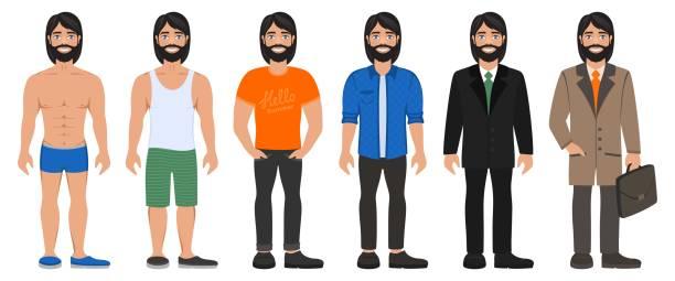ilustraciones, imágenes clip art, dibujos animados e iconos de stock de hombre guapo sonriente en ropa de diferentes tipos. - cabello largo