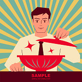 Unique Characters Full Length Vector art illustration. Smiling handsome man opening the lid of bowl, ready to eat.