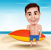 Smiling Handsome Surfer Man Vector Character Holding Surfboard