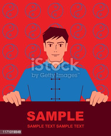 Unique Characters Full Length Vector art illustration. Smiling handsome wushu man (Tai Chi, Kung Fu, Chinese Martial Arts) holding blank sign.