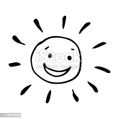 Smiling happy hand drawn sun in vector. Black and white illustration.