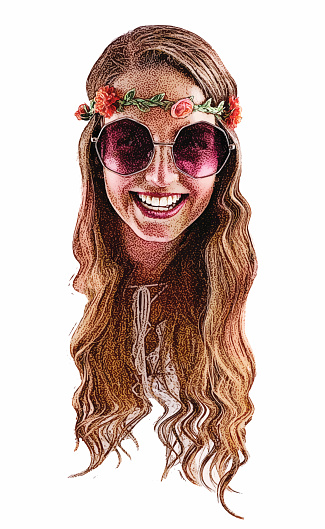 Smiling, happy Boho hippie young woman. Head only.