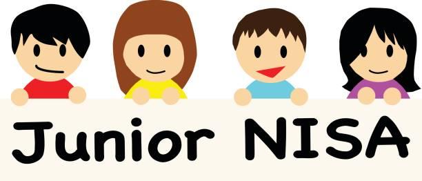 ilustrações de stock, clip art, desenhos animados e ícones de smiling happy boys and girls holding the banner on which junior nisa is written. - nisa