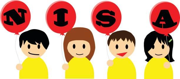 ilustrações de stock, clip art, desenhos animados e ícones de smiling happy boys and girls holding the boards on which nisa is written. - nisa