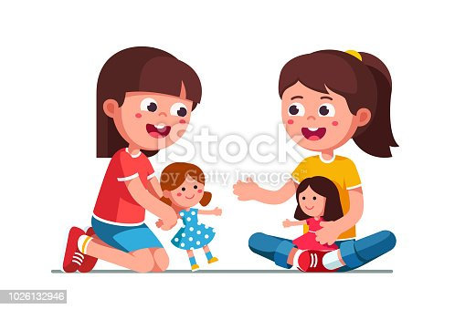 Smiling girls kids playing with dolls. Happy, kids playing together. Child cartoon characters with cute dolls. Childhood and preschool development. Flat vector illustration isolated on white background.