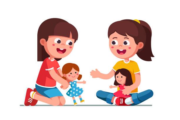 행복 한 여자 아이 집 귀여운 인형 함께 연주 미소. 유아와 유치원 개발입니다. 어린이 만화 캐릭터 평면 벡터 클립 아트 그림. - 퍼펫인형 stock illustrations
