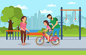 Smiling Happy Mom and Dad Teaching Girl to Ride Teenage Bike. Urban Playground for Whole Family Background Streets Big City. Vector Flat Illustration on Background Blue Sky and Clouds.