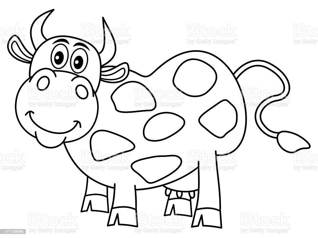 Vetores De Sorrindo Enorme Vaca Para Colorir E Mais Imagens De