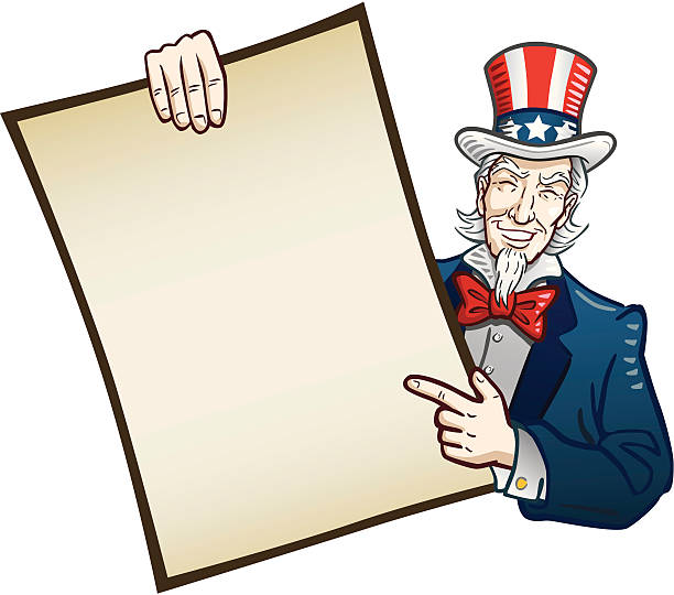 Smiling image of Uncle Sam pointing at a blank sign Great illustration of a classical Uncle Sam holding a large sign. Perfect for use in advertising. EPS and JPEG files included. Be sure to view my other illustrations, thanks! uncle sam stock illustrations
