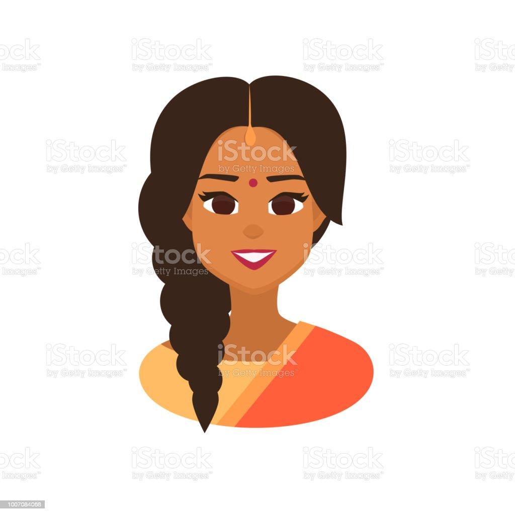 Smiling Indian girl avatar . vector art illustration