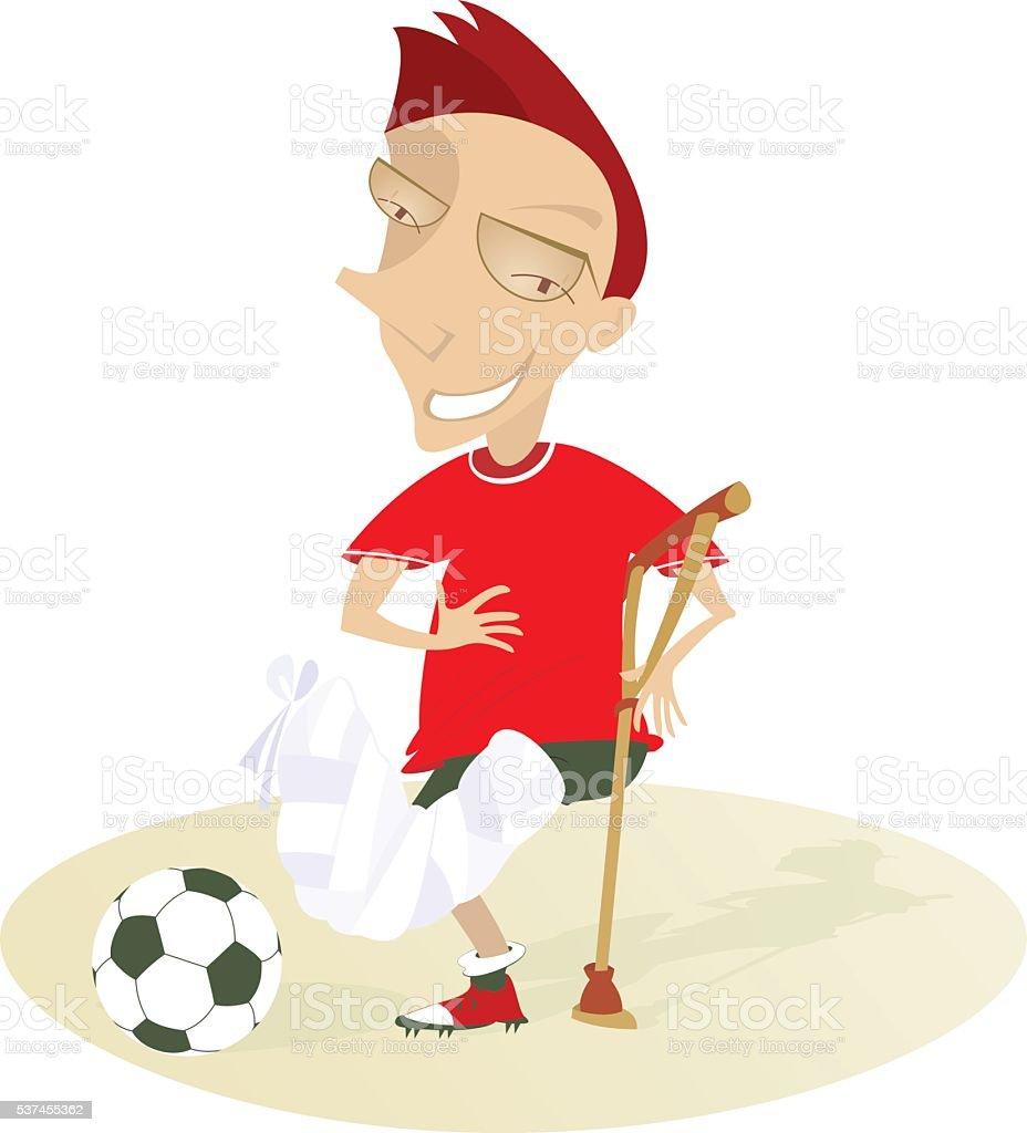 Smiling injured football player vector art illustration