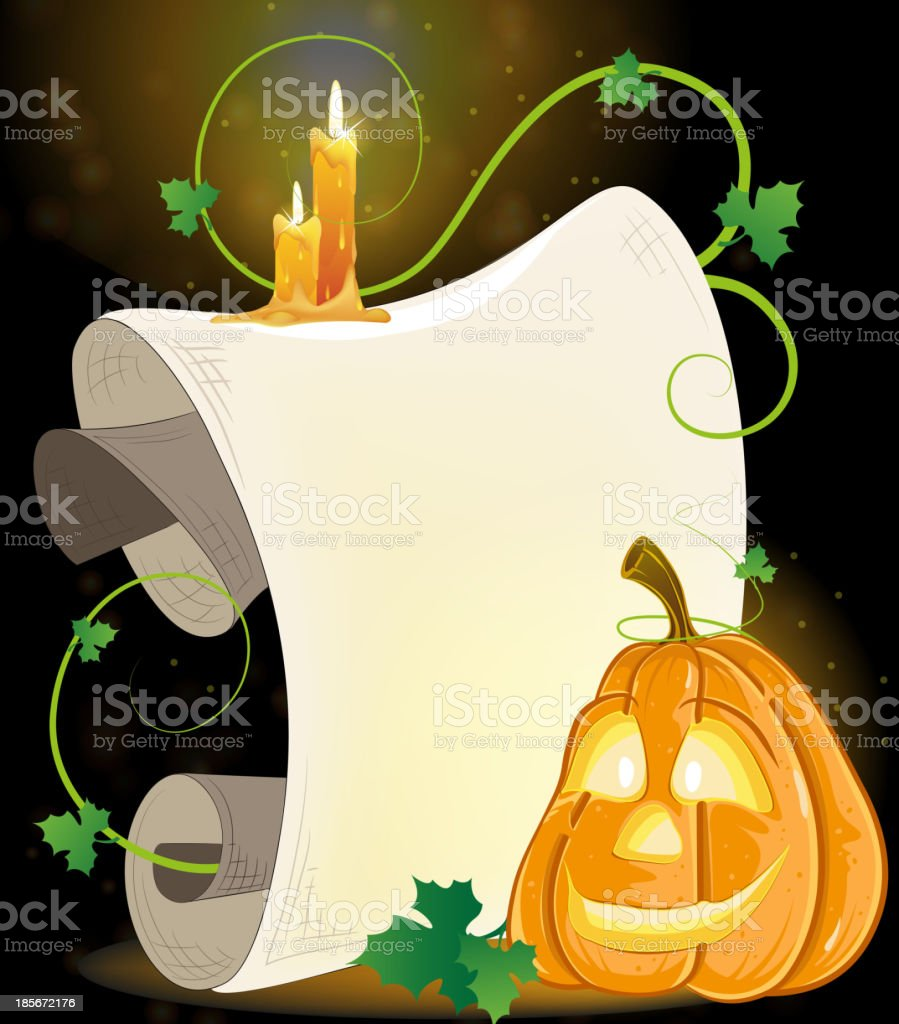 Smiling Jack o' Lantern, parchment and burning candles royalty-free stock vector art