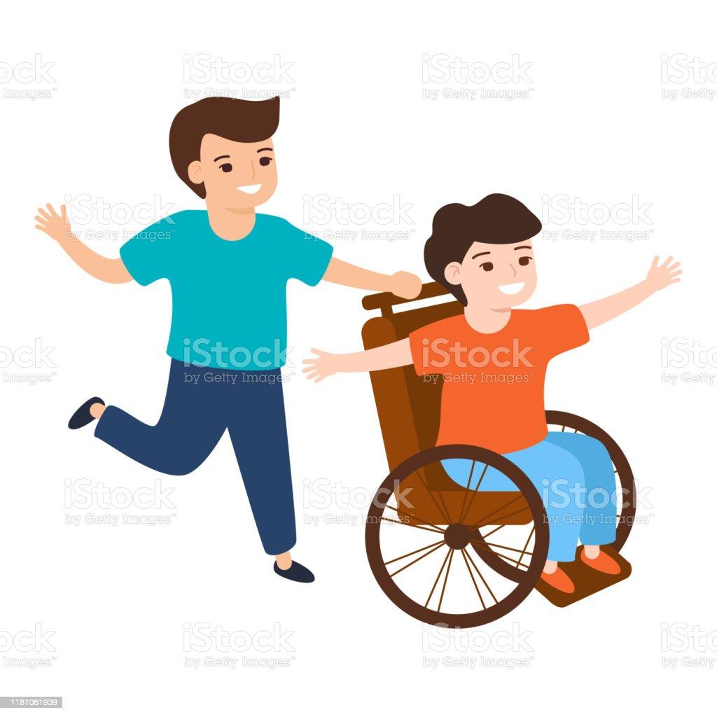 Ilustración de Niño Sonriente Caminando Con Un Niño