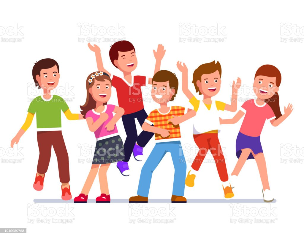 smiling kids boys and girls partying and dancing together flat