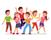Smiling kids boys and girls  partying and dancing together. Flat isolated vector on white background