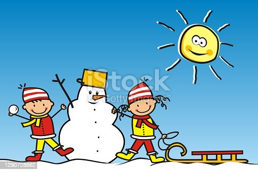 istock Smiling kids with snowman and sledge, eps. 1290728862