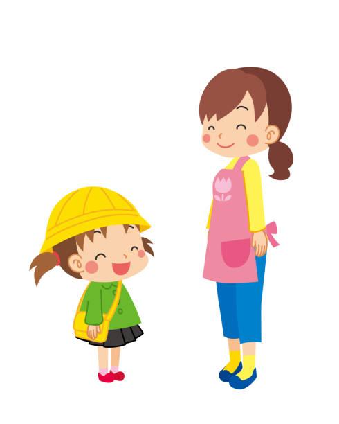 illustrazioni stock, clip art, cartoni animati e icone di tendenza di smiling kindergarten child - two students together asian