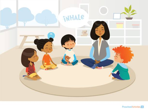 Smiling kindergarten teacher and children sitting in circle and meditating. Preschool activities and early childhood education concept. Vector illustration for banner, website, poster, advertisement. vector art illustration