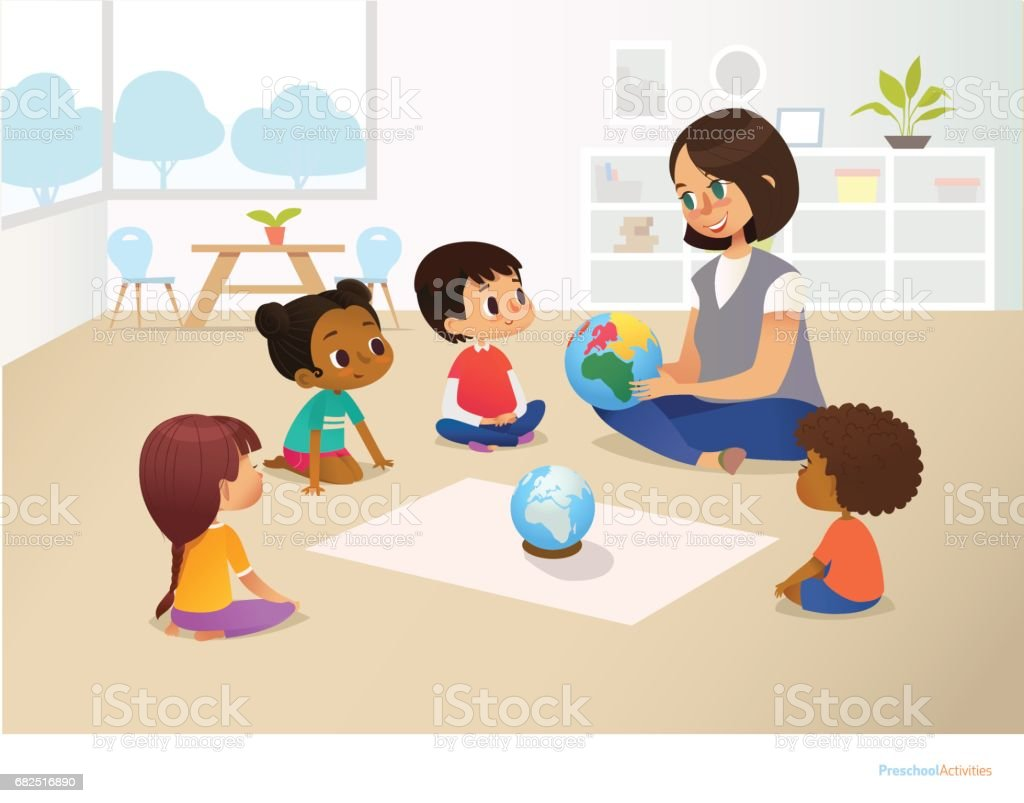 Smiling kindergarten teacher shows globe to children sitting in circle during geography lesson. Preschool activities and early childhood education concept. Vector illustration for poster, flyer. royalty-free smiling kindergarten teacher shows globe to children sitting in circle during geography lesson preschool activities and early childhood education concept vector illustration for poster flyer stock vector art & more images of cartoon