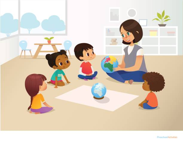 Smiling kindergarten teacher shows globe to children sitting in circle during geography lesson. Preschool activities and early childhood education concept. Vector illustration for poster, flyer. Smiling kindergarten teacher shows globe to children sitting in circle during geography lesson. Preschool activities and early childhood education concept. Vector illustration for poster, flyer. preschool teacher stock illustrations