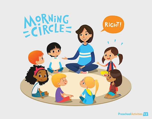 Smiling kindergarten teacher talks to children sitting in circle and vector art illustration
