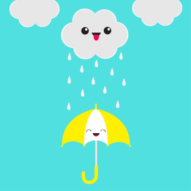 Lächelnd lachende Dach. Niedlichen Cartoon Kawaii Wolke mit Regen fällt. Zeigt Zunge Emotion. Augen und Mund. Isoliert. Blauer Himmelshintergrund. Lustiger Charakter Emoji Babykollektion. Flaches Design. – Vektorgrafik