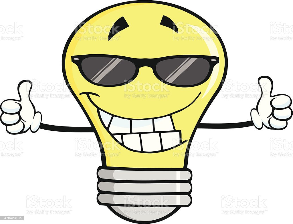 Smiling Light Bulb With Sunglasses Giving A Double Thumbs Up vector art illustration