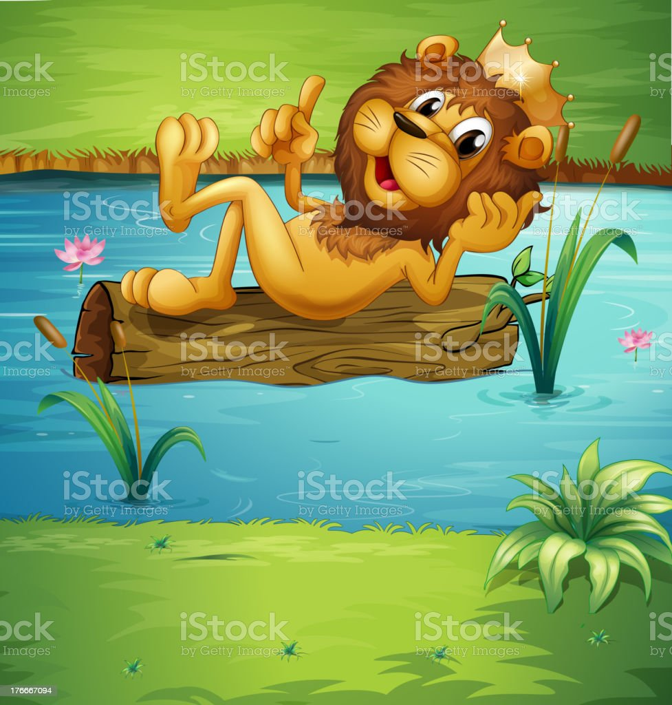 smiling lion on a dry wood royalty-free smiling lion on a dry wood stock vector art & more images of illustration