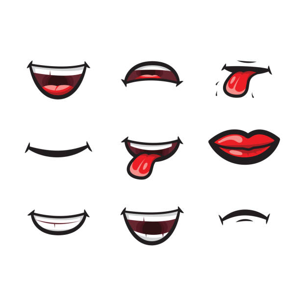smiling lips, mouth with tongue, white toothed smile and sad expression mouth and lips vector icon. lips and mouth expressing different emotions, funny and sad smiles isolated on white background - smiling stock illustrations