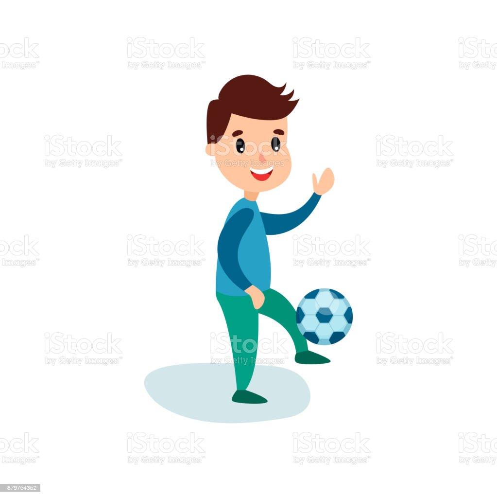 Kinder Lacheln Wenig Junge Charakter Treten Fussball