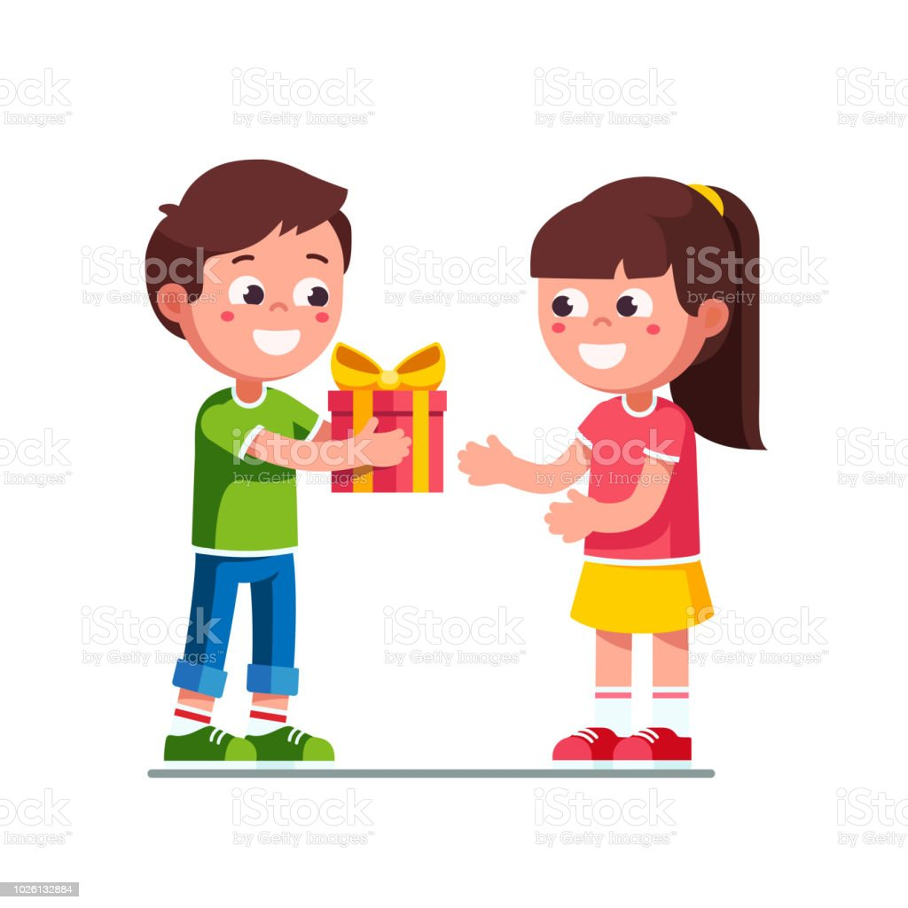 Smiling Little Boy Kid Giving To Excited Girl Birthday Wrapping Gift Child Hand Over Holiday Present Children Cartoon Characters Flat Vector Clipart