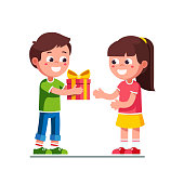 Smiling little boy kid giving girl birthday ribbon bow gift box. Children cartoon character excited kid child receiving gift from girlfriend. Happy child hand over holiday present. Flat vector illustration isolated on white background.
