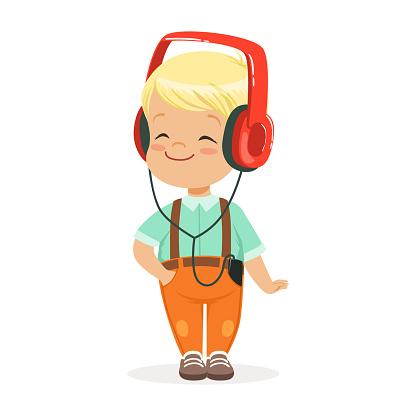 ヘッドフォンで音楽を聴く小さな男の子を笑顔でカラフルな漫画のキャラクターのベクトル イラスト - 1人のベクター ...