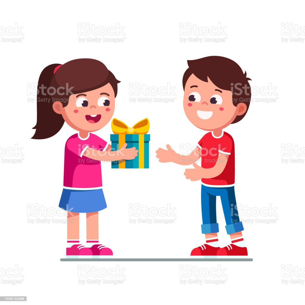 Smiling Little Girl Kid Giving To Excited Boy Birthday Wrapping Gift Child Hand Over Holiday Present Children Cartoon Characters Flat Vector Clipart