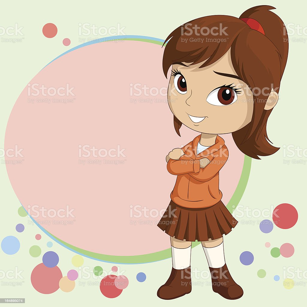 Smiling little girl standing with background royalty-free stock vector art
