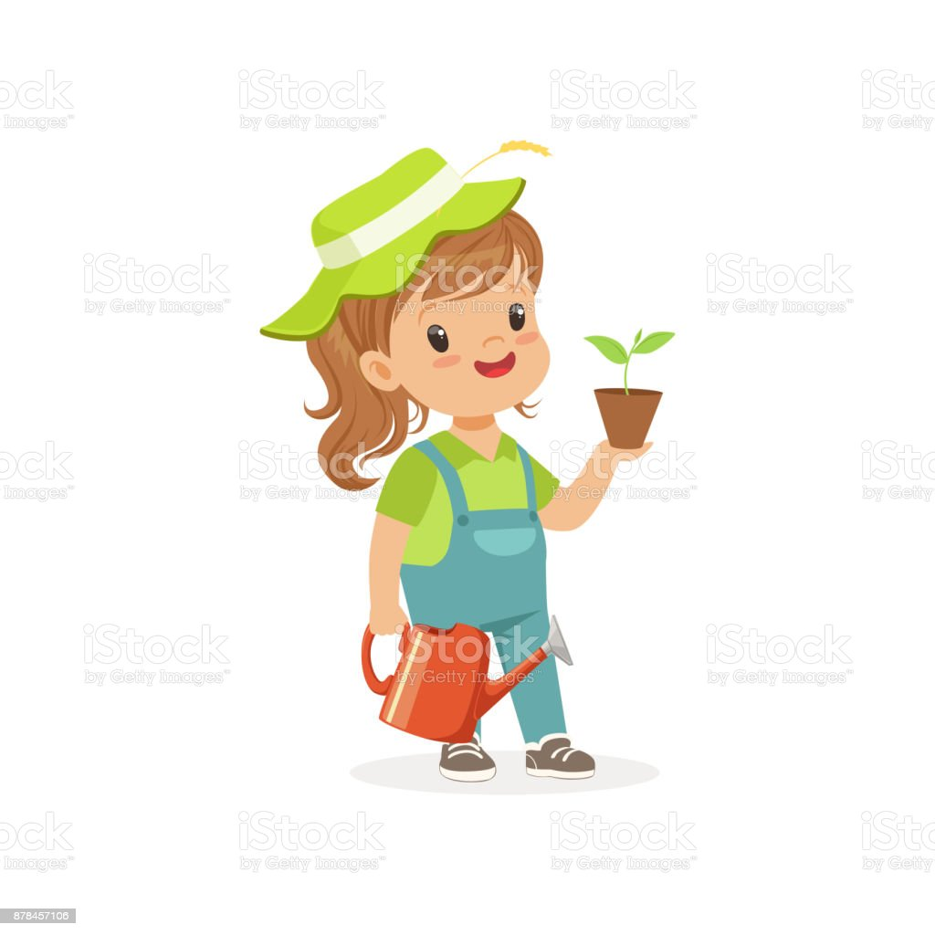 Smiling Little Girl Standing With Plant And Watering Can In