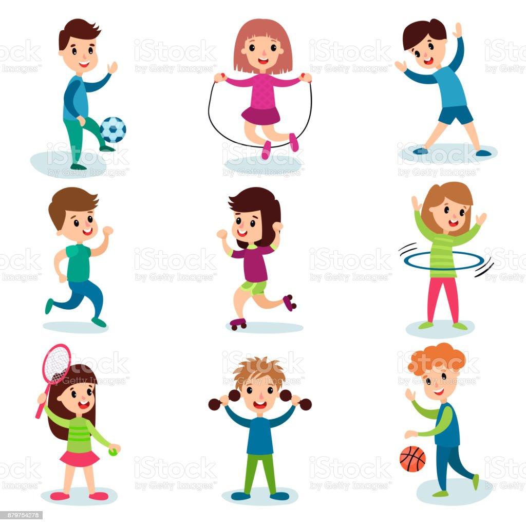 sonriendo los caracteres de los ni os peque os haciendo diferentes deportes y juegos deportivos. Black Bedroom Furniture Sets. Home Design Ideas