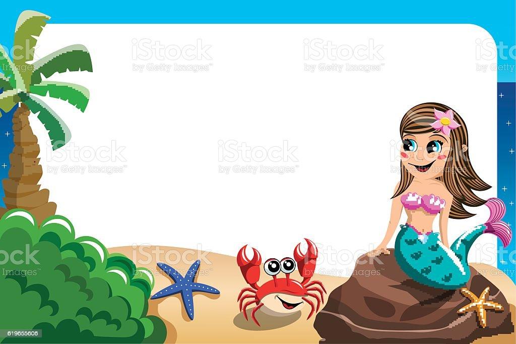 Smiling Little Mermaid Frame Stockvectorkunst En Meer Beelden Van