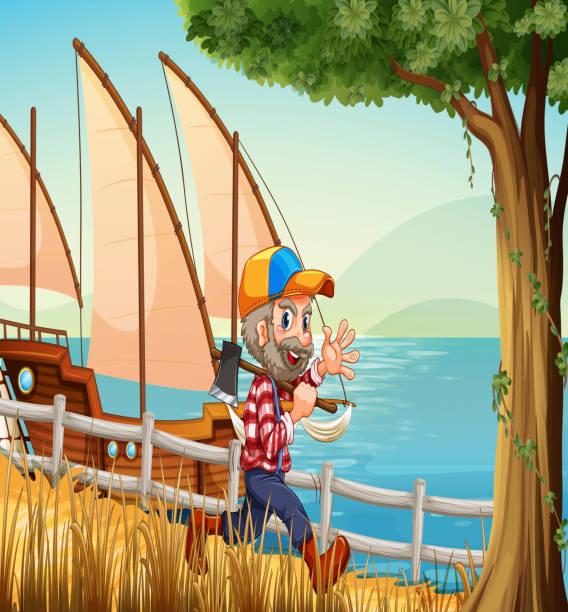 illustrations, cliparts, dessins animés et icônes de souriant bûcheron marcher tout en portant un axe - man axe wood