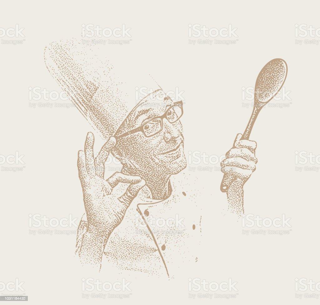 Smiling male chef Making OK hand sign vector art illustration
