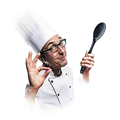 Smiling male chef making OK hand sign