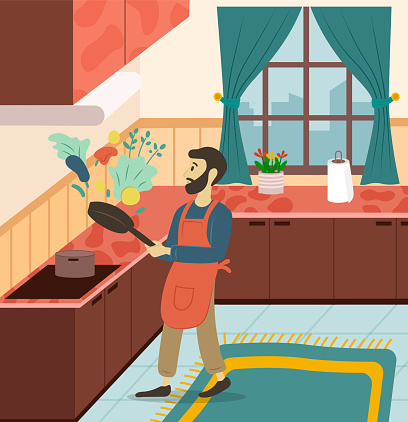 Smiling Male Frying Vegetables in Kitchen Vector